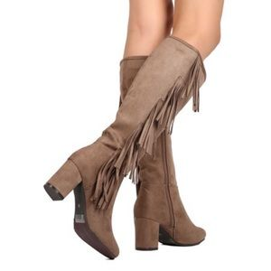 NEW Faux Suede Knee High Fringe Chunky Heel Boots